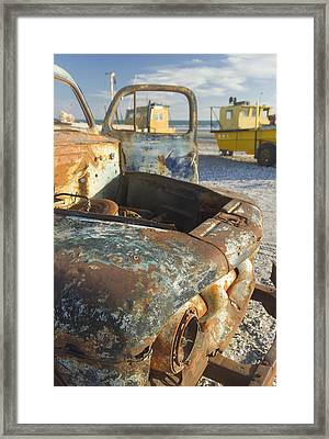 Old Truck In The Beach Framed Print by Silvia Bruno