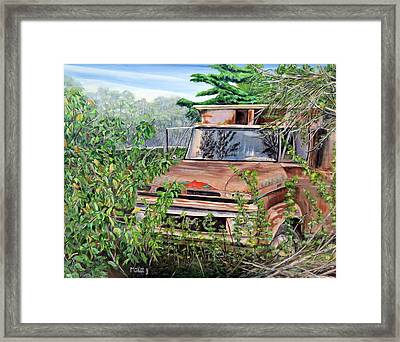 Old Truck Rusting Framed Print by Marilyn  McNish