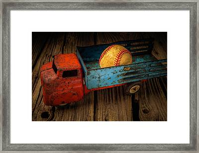 Old Truck With Basball Framed Print by Garry Gay