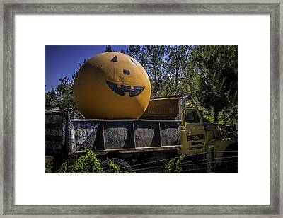 Old Truck With Large Pumpkin Framed Print by Garry Gay