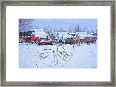 Old Trucks In Snow Framed Print