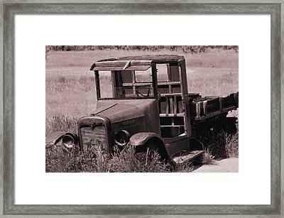 Framed Print featuring the photograph Old Truck In Sepia by Kae Cheatham
