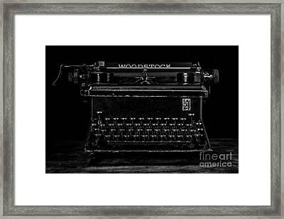 Old Typewriter Black And White Low Key Fine Art Photography Framed Print