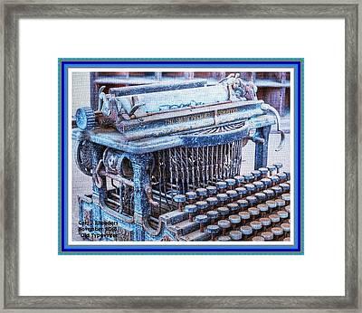 Old Typewriter H A With Decorative Ornate Printed Frame. Framed Print