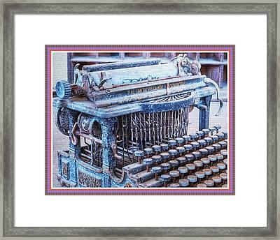 Old Typewriter H B With Decorative Ornate Printed Frame. Framed Print