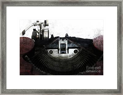Old Typewriter Machine In Grunge Style Framed Print by Michal Boubin