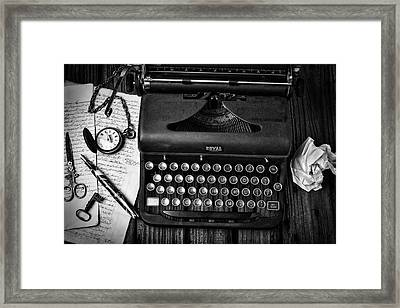 Old Typewriter With Letters Framed Print by Garry Gay