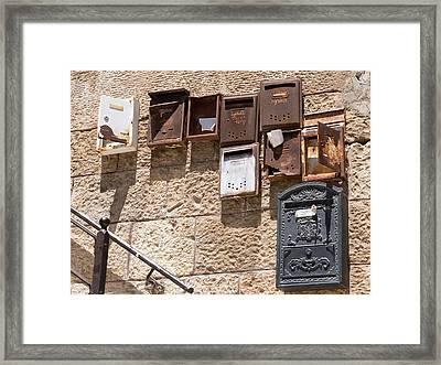 Old  Mailboxes In Jerusalem Framed Print by Yoel Koskas