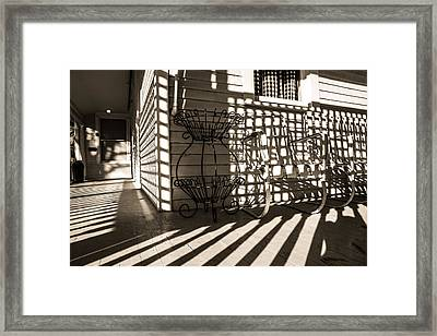Old Victorian Porch In Sunlight And Shadow Framed Print by Scott Hales