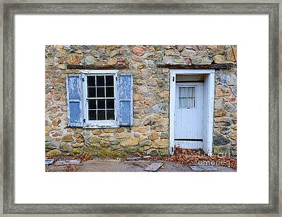 Old Village Door And Window With Blue Shutters Framed Print by Paul Ward