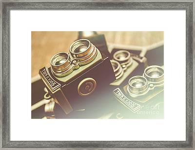 Old Vintage Faded Print Of Camera Equipment Framed Print
