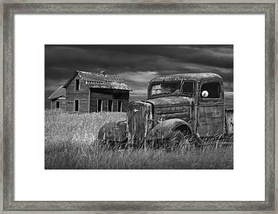 Old Vintage Pickup In Black And White By An Abandoned Farm House Framed Print