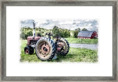 Old Vintage Tractor On The Farm Framed Print by Edward Fielding