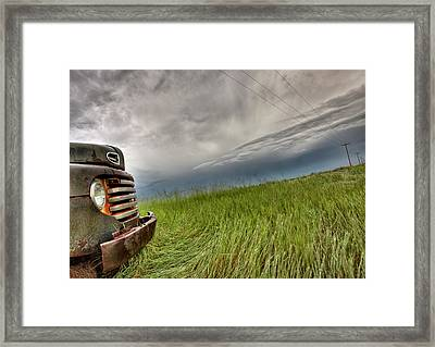 Old Vintage Truck On The Prairie Framed Print by Mark Duffy
