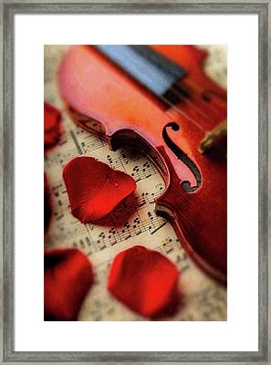 Old Violin And Rose Petals Framed Print by Garry Gay