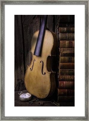 Old Violin With Stack Of Worn Books Framed Print by Garry Gay