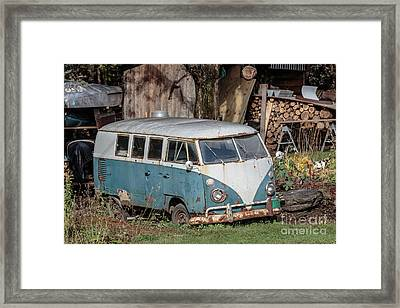 Old Vw Hippy Bus In Vermont Framed Print