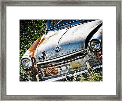 Old Vw Framed Print by Kathy Jennings