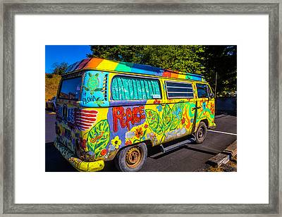 Old Vw Peace Van Framed Print