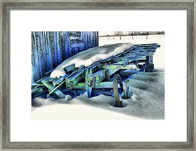 Old Wagan In The Snow Framed Print by Jeff Swan