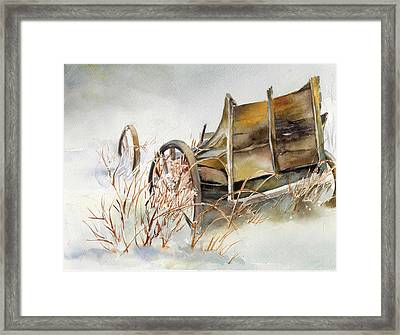 Old Wagon Abandoned In The Snow Framed Print by Maureen Moore