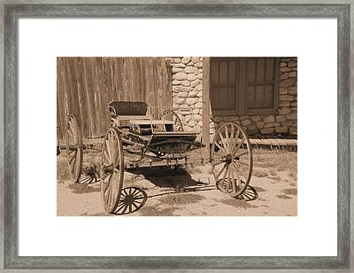 Old Wagon In Sepia Framed Print by Jeff Swan