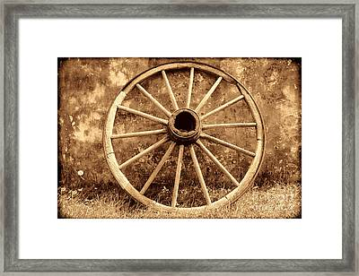 Old Wagon Wheel Framed Print by American West Legend By Olivier Le Queinec