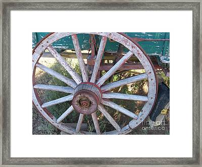 Framed Print featuring the photograph Old Wagon Wheel by Dora Sofia Caputo Photographic Art and Design