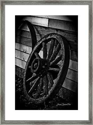 Old Wagon Wheel Framed Print by Joann Copeland-Paul
