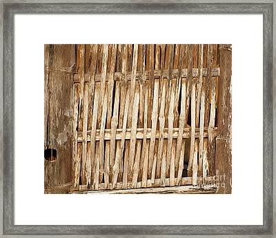 Old Wall Made From Bamboo Slats Framed Print