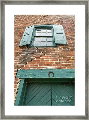 Old Warehouse Window And Lucky Door Framed Print