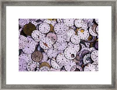 Old Watch Faces Framed Print by Garry Gay