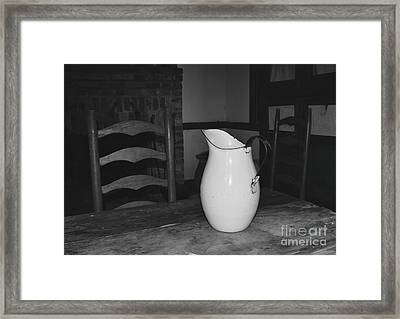 Old Water Pitcher - Black And White Framed Print by Cindy Nearing