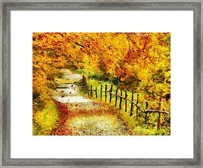 Old Way In Fall - Pa Framed Print