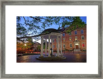 Old Well And Crescent Moon - Unc Chapel Hill Framed Print