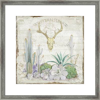 Framed Print featuring the painting Old West Cactus Garden W Deer Skull N Succulents Over Wood by Audrey Jeanne Roberts