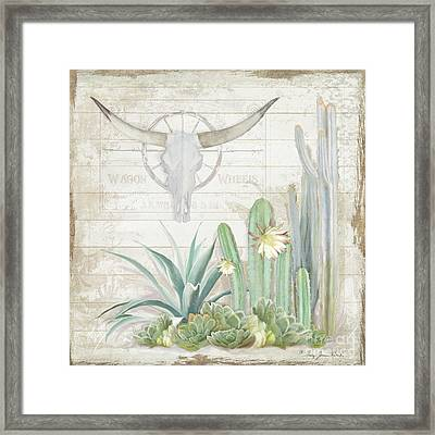 Framed Print featuring the painting Old West Cactus Garden W Longhorn Cow Skull N Succulents Over Wood by Audrey Jeanne Roberts