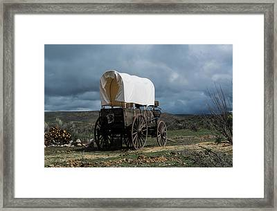 Old West Covered Chuckwagon In Approaching Storm Framed Print