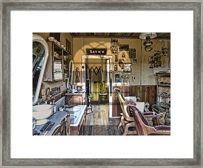 Old West Victorian Barber Shop Interior - Montana Territory Framed Print by Daniel Hagerman