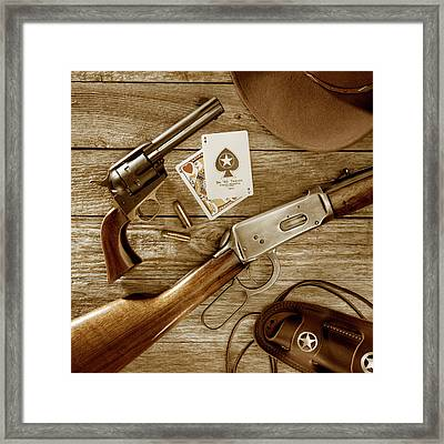 Old West Weapons In Sepia Framed Print