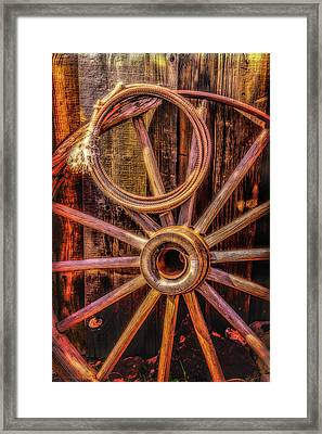 Old Wheel And Rope Framed Print by Garry Gay