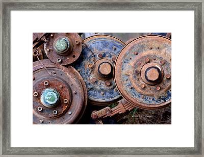 Old Wheels, Circles And Bolts Framed Print