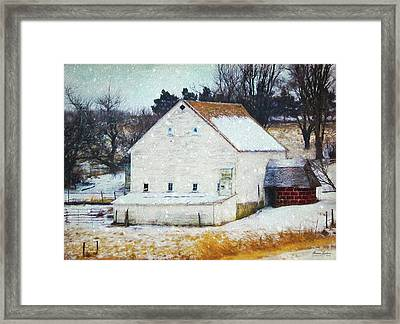 Old White Barn In Snow Framed Print