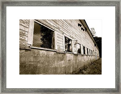 Old White Barn Framed Print by Sonja Anderson