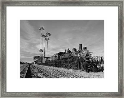 Old Wickenburg Locomotive, Monochrome Framed Print