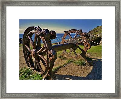 Old Winch Tintagel Framed Print by Richard Brookes