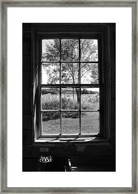 Old Window Bw Framed Print