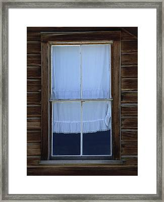 Old Window With Lace Curtain Framed Print