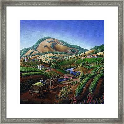 Old Wine Country Landscape Painting - Worker Delivering Grape To The Winery -square Format Image Framed Print