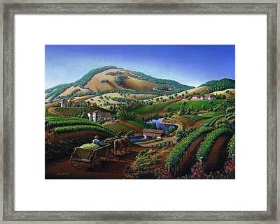 no 24 Greeting Card - Old Wine Country Landscape Painting Framed Print